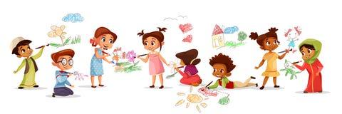Die Kinder, die mit Bleistiften zeichnen, vector Illustration von verschiedenen Nationalitätskarikaturjungen und von Mädchenkinde Lizenzfreies Stockfoto