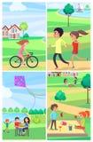 Die Kinder und Erwachsener, die Zeit parken verbringen aktiv, Plakat vektor abbildung