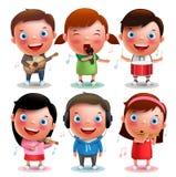 Die Kindervektorcharaktere, die Musikinstrumente spielen, mögen Gitarre, Violine, Trommeln, Flöte Stockbild