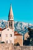 Die Kirche alter Stadt Budva, Montenegro, Kotor-Bucht, die Balkan Stockfotos