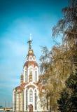 Die Kirche auf dem Dnieper Stockbild