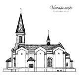 Die Kirche der unaufhörlichen Hilfsmutter des Gottes, Markstein Russland, gezeichnete Skizze des Vektors Hand lokalisiert auf wei Lizenzfreies Stockbild