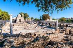 Die Kirche Panagia Chrysopolitissa Paphos, Zypern Stockfotografie