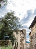 Die Kirche von Pieve in der alten Stadt von Arezzo Lizenzfreies Stockbild