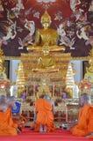 Die Klassifikations-Zeremonie eines Mönchs bei Wat Bang Pai in Nonthaburi, Thailand Stockfotografie