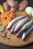 Die klassischen Bestandteile für die Fischerei der Suppe Stockfotos