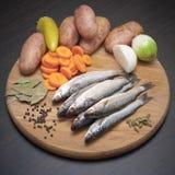 Die klassischen Bestandteile für die Fischerei der Suppe Lizenzfreie Stockfotografie