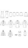 Die Kleidung der Frauen, Kleiderillustration, Vektor Lizenzfreie Stockfotos