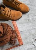 Die Kleidung der Frauen und Zubehör - Rock, Rollkragen, Schal, Schuhe Lizenzfreie Stockfotografie