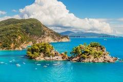 Die kleine Insel von Jungfrau Maria, Parga, Griechenland Stockbild