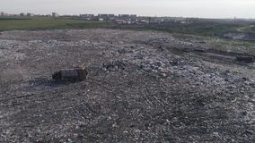 Die Klima Verschmutzung, Vogelperspektive auf Leuten arbeiten am großen Abfallstapel und viele Möven fliegen über Abfalldump stock video
