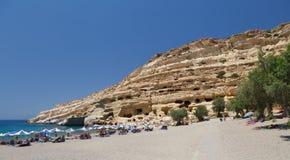 Berühmter Strand Matala, Griechenland Kreta Stockbild