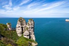 Die Klippen von Etretat - Normandie lizenzfreie stockfotos