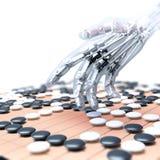 Die künstliche Intelligenz, die im Spiel von konkurriert, gehen Stockbilder