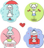 Die kochende, gehende, Sport und lesende Hobbytätigkeit des Aufklebermädchens - Vector Karikaturillustration Lizenzfreies Stockbild