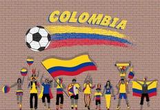 Die kolumbianischen Fußballfane, die mit Kolumbien zujubeln, kennzeichnen Farben in Franc stock abbildung