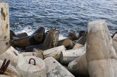 Die konkreten Wellenbrecher trafen auf Schutz eines Küstengebiets zu Lizenzfreie Stockbilder