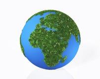 Die Kontinente Europa und Afrika werden durch Gras und Blume bedeckt stock abbildung