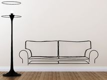 Die Kontur des Sofas und der Stehlampe Lizenzfreies Stockfoto