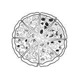 Die Konturen der verschiedenen Stücke der Pizza Lizenzfreies Stockbild