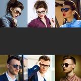 Die Konzeptmodeschönheitsfrau und -mann Collage jungen wo Lizenzfreie Stockfotos