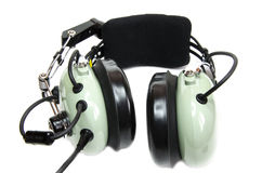 Die Kopfhörer des Pilot mit Mikrofon lizenzfreies stockbild