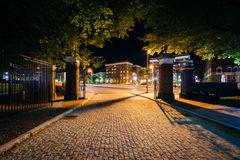 Die Kopfsteinfahrstraße zu den Universität John Hopkins nachts, i stockbild