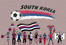 Die koreanischen Fußballfane, die mit Südkorea zujubeln, kennzeichnen Farben in Franc vektor abbildung
