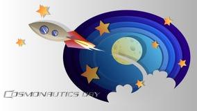 Die Kosmonautik-Tag Illustration, Collage wird dem Feiertag und allen eingeweiht, die das Thema des Raumes lieben vektor abbildung