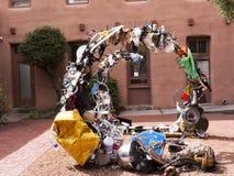 Die kreative Stadt von Santa Fe In New Mexiko mit seiner Vielzahl von Galerien und von Skulptur Lizenzfreies Stockfoto