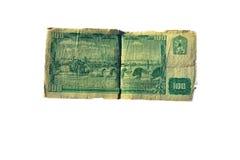 100 die kroonrekening van Tsjecho-Slowakije op witte achtergrond wordt geïsoleerd Stock Foto