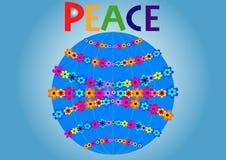 Die Kugel mit Blumen als Symbol des Friedens auf dem Planeten Stockbilder