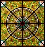 Die Kunst der Blumenfarbe auf Glas Stockfoto