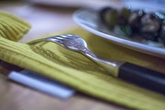 Die Kunst des Essens in der Etikette stockfotos
