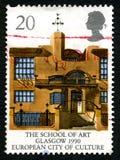Die Kunstakademie in der BRITISCHEN Briefmarke Glasgows lizenzfreie stockfotografie