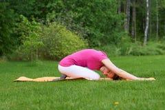 Die lächelnde braune behaarte Frau, die auf Knien auf orange Matte mit den Händen zurück sitzen ausdehnt, dehnte vorwärts in Gras Stockbild