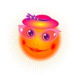 Die lächelnde Sonne im rosafarbenen Glasvektor Stockbilder