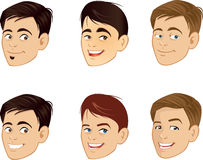 Die lächelnden Gesichter der Männer Stockfoto