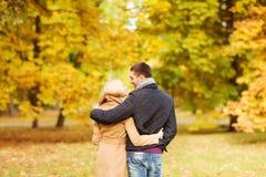 Die lächelnden Paare, die im Herbst umarmen, parken von der Rückseite Stockbild