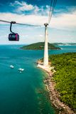 Die längste Drahtseilbahn, Insel Phu Quoc in Vietnam lizenzfreie stockfotos