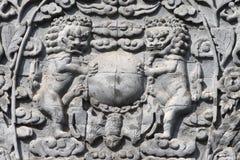 Die Löwen wurden aus Stein heraus geschnitzt Stockbild
