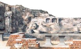 Die Lügenund stehenden Buddha-Statuen lizenzfreie stockfotografie