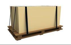 Die Ladeplatte mit einem Kasten Stockfoto