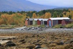 Die Lager der Fischer nahe Skibotn, Norwegen Lizenzfreie Stockbilder