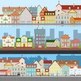 Die Landschaft der alten Stadt Ansichten der alten Stadt Straße der alten Stadt mit einem Fluss vektor abbildung
