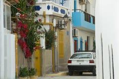 Die Landschaft der griechischen Stadt stockbilder