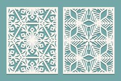Die and laser cut ornamental panels with snowflakes pattern. Laser cutting decorative lace borders patterns. Set of Wedding Invita Royalty Free Stock Images