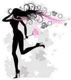 Die laufende Frau mit sich entwickelnden Haar Stockbild