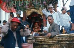1975. Lebende Göttin. Katmandu, Nepal Lizenzfreie Stockfotografie