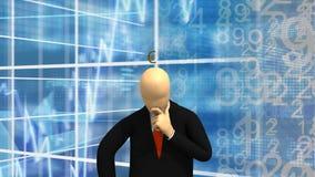 Die lebhaften Grafiken, die 3d zeigen, bemannen Stellung und das Denken an Geld stock footage
